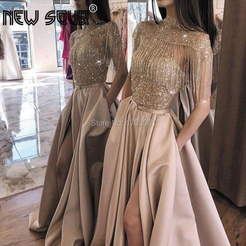 Luxury Robe De Soiree Beaded Evening Dresses Girls Saudi Arabia 2020 A Line Prom Dress Kaftans Turkish Pageant Gowns Vestidos