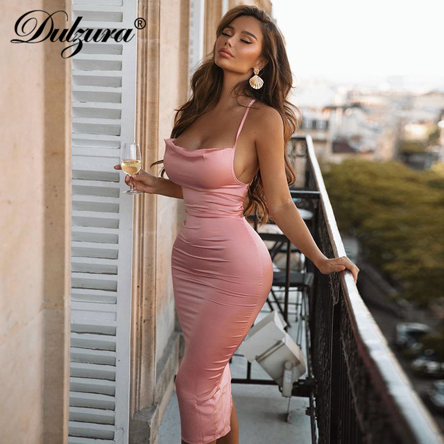 Dulzura neon satin lace up women long midi dress bodycon backless elegant party sexy club clothes 2021 summer dinner outfit 4