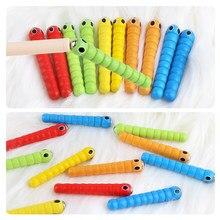 1 różdżka + 5 robaków do połowu robaka gra truskawka chwytająca dziecko drewniane akcesoria do zabawek Montessori drewniane zabawki edukacyjne