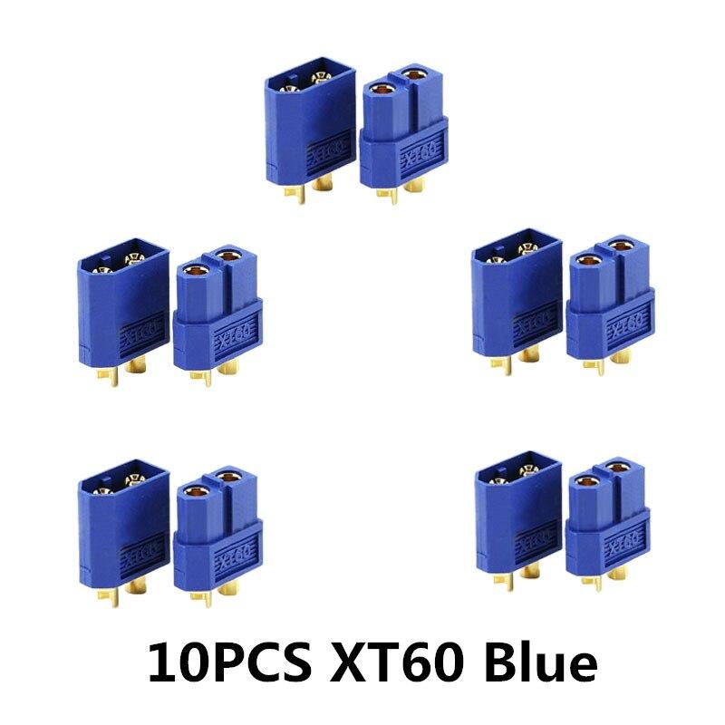 10/20 шт. XT60 черный/голубой/XT60+/XT30UPB/XT60-E/XT60-L штекерно-разъемы Вилки провод с силикатной гелевой обмоткой для Батарея Quadcopter Drone - Цвет: 10PCS XT60 Blue