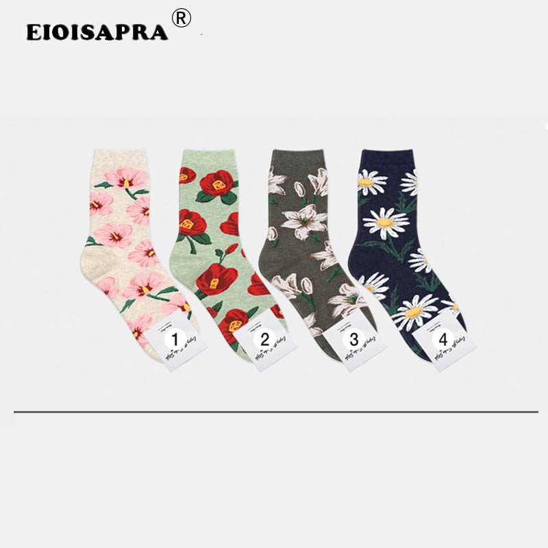 Creative Fashion Printing Korean Style Harajuku Women Socks Candy Color Flowers Outdoor Antiskid Breathable Calcetines Mujer