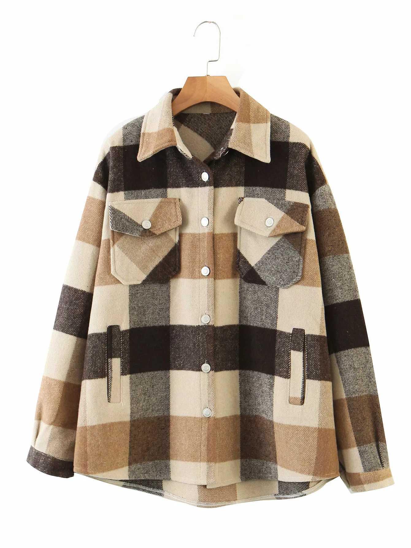 Vintage Groene Rooster Shirt Jassen Womens Losse Plaid Jas 2020 Winter Plus Size Jassen Casual Vrouwen Jas 2020