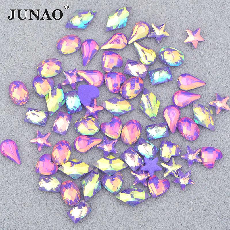 Junao glitter roxo ab mix forma coração prego strass plana volta cristais pedras resina strass adesivo rosto arte do prego decoração