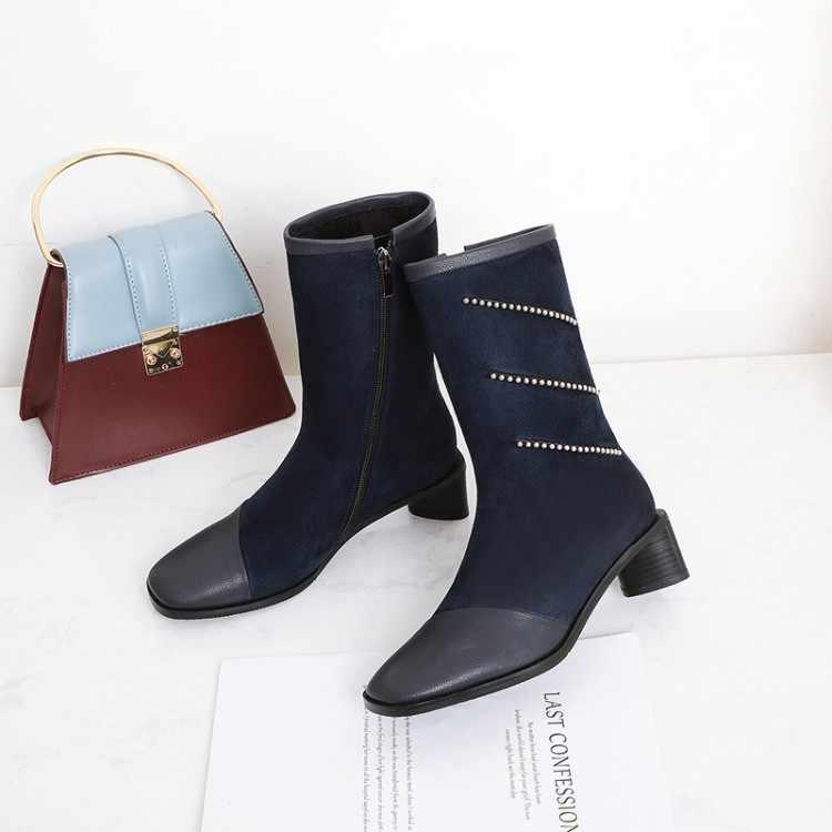 ใหญ่ขนาด 9 10 11 12 รองเท้ารองเท้าผู้หญิงข้อเท้ารองเท้าสำหรับสุภาพสตรีรองเท้าผู้หญิงฤดูหนาวตกแต่งเพชร patchwork ผ้า