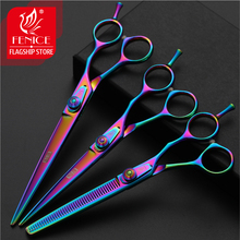 Fenice 6.5/7.5 inch pet dog grooming thinning&cutting scissors set shears for dogs kit thinning rate 30%