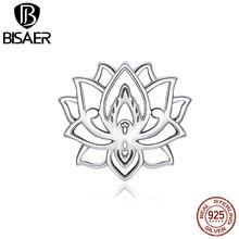 BISAER fioritura perline di loto argento Sterling 925 purezza Charms fiore ciondolo misura gioielli fai da te collana braccialetto ECC1724