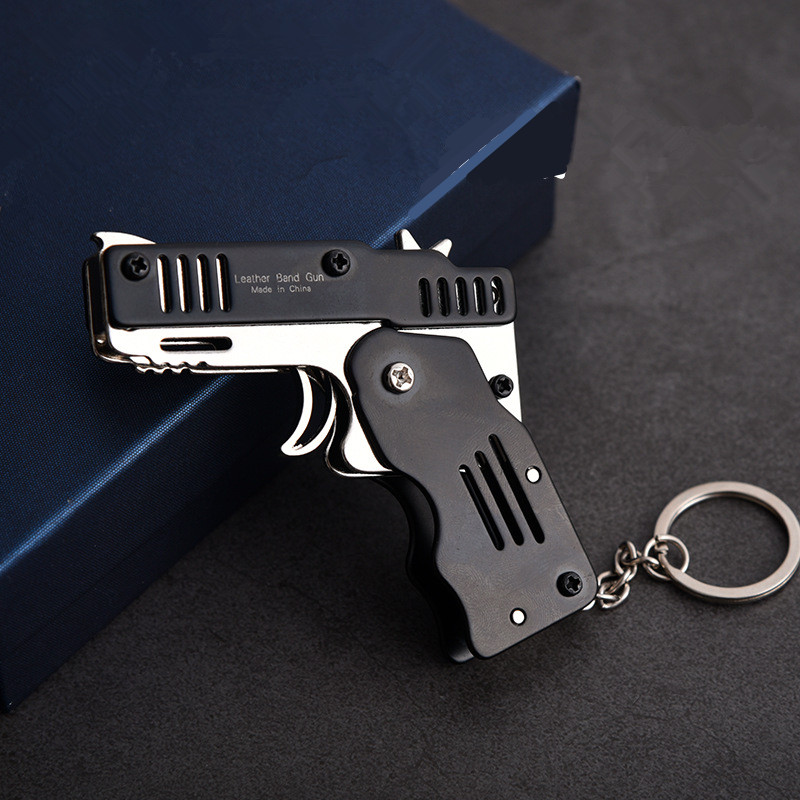 Mini Folding Can Hold The Key Chain Of The Rubber Band Gun Six Bursts Made All Metal Guns Shooting Toy Gifts Boys Outdoor Tools