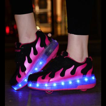 Koło Led trampki dla dzieci chłopiec dziewczyna USB ładowania świecące zwijane buty ze światłami na podwójne koła dzieci Skate buty do tenisa tanie i dobre opinie RISRICH 7-12y 12 + y CN (pochodzenie) CZTERY PORY ROKU Lekkie Damsko-męskie SNEAKER Dobrze pasuje do rozmiaru wybierz swój normalny rozmiar