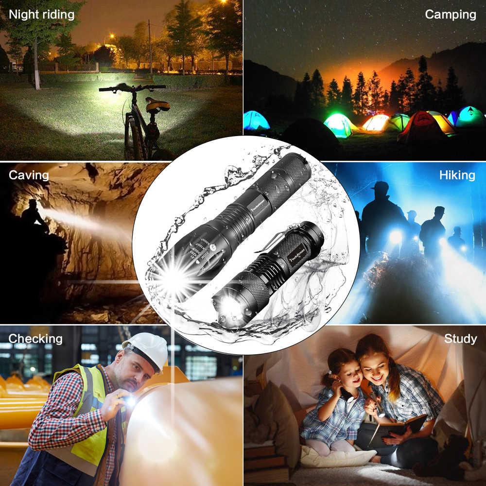 Promosyon Seti! Sıcak Satış LED el feneri XML-T6 Taktik el feneri + Q5 mini fener Lanterna Zumlanabilir Su Geçirmez El Feneri Bisiklet