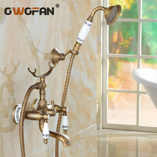 цена на Classic Shower Faucet Set Mixer Tap Antique Bronze Decor Ceramic Brass Wall Mounted Bath Shower Tap Bathtub Faucet Crane H-01