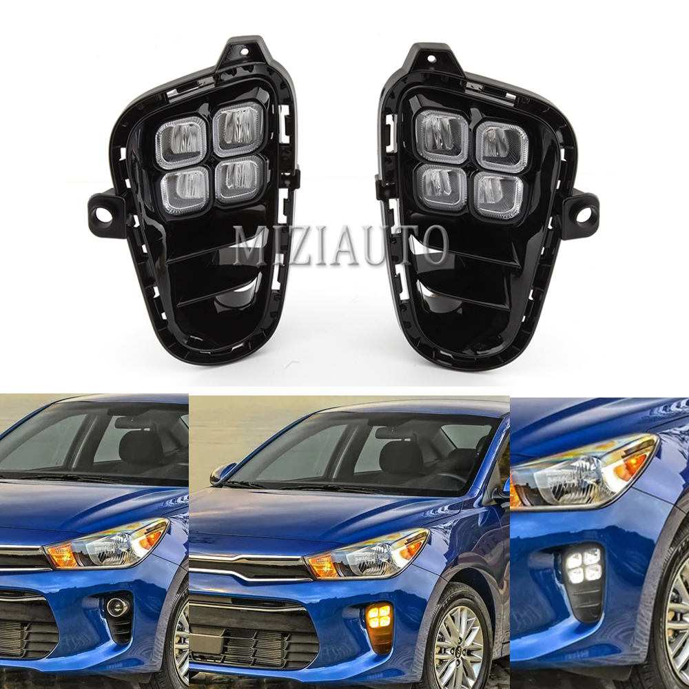 2PCS Car Daytime Running Light for KIA RIO 2017 2018 2019 Front Bumper Fog light Lamp Assembly LED DRL white yellow 2 colors