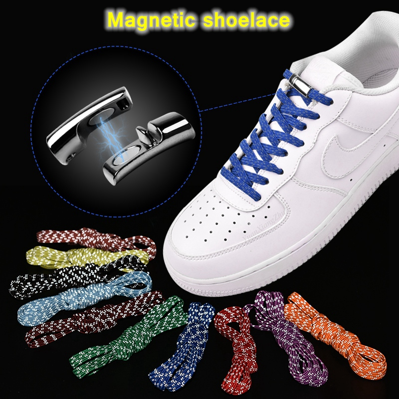 New Elastic Reflective Magnetic Shoelaces Quick Locking No Tie Shoe Laces Adult Children Shoelace Sneakers Running Shoe Laces