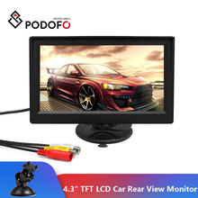 Podofo Mini moniteur LCD de 4.3 pouces TFT, système de stationnement pour caméra de recul, prise en charge VCD, DVD, Auto TV