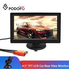 Podofo monitor traseiro de 4.3 polegadas, mini monitor tft lcd sistema de retrovisor para estacionamento, câmera reversa de backup, suporte vcd dvd tv automática,