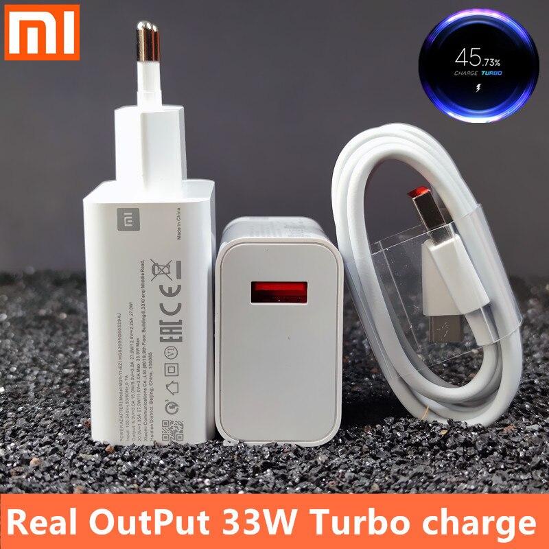 Зарядное устройство 33 Вт для xiaomi с европейской турбозарядкой, оригинальный кабель type-C для Xiaomi redmi note 9 pro, POCO X3, nfc, Mi 10, 9, 9t pro, note 10, 10X LITE