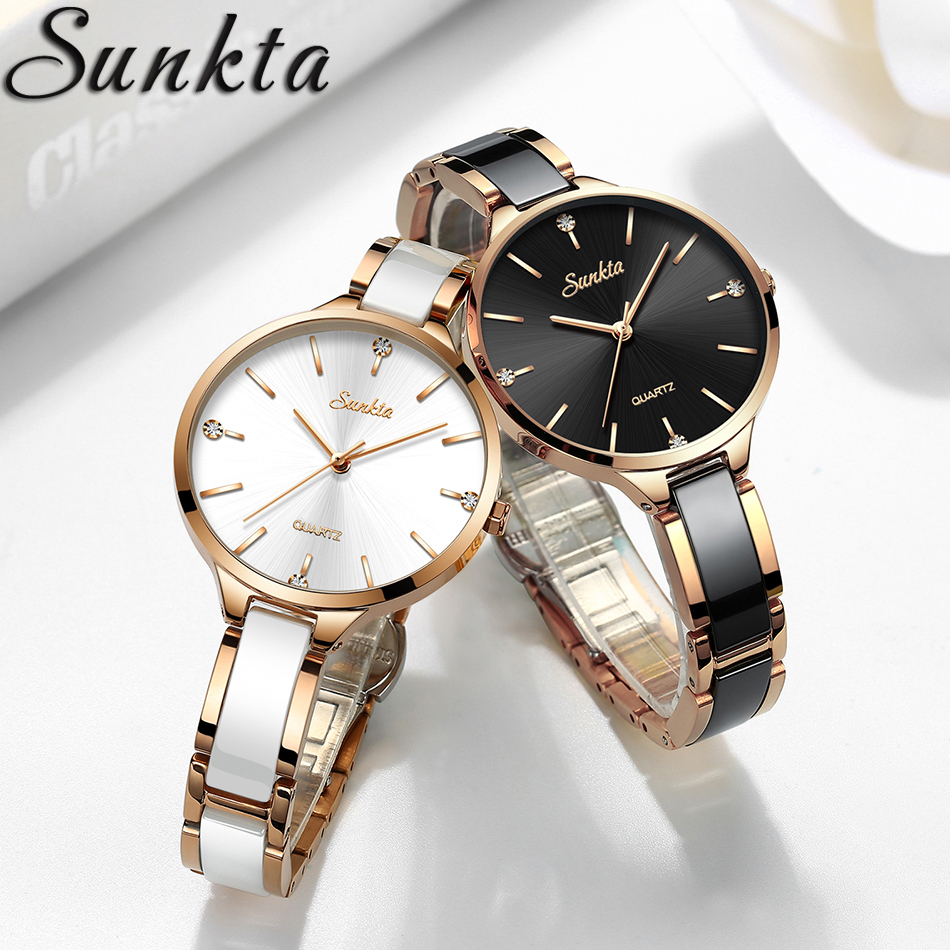 SUNKTA Luxury Gift Crystal Watch Women Waterproof Rose Gold Steel Strap Ladies Wrist Watches Top Brand Clock Relogio Feminino
