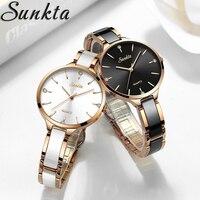 SUNKTA Luxury Gift Crystal Watch Women Waterproof Rose Gold Steel Strap Ladies Wrist Watches Top Brand Clock Relogio Feminino