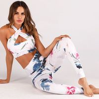 Women Fitness High Waist Sport Suit Yoga Set Print Floral Running Set Jogging Suits For Women Sports Bra+Leggings Sport Clothing