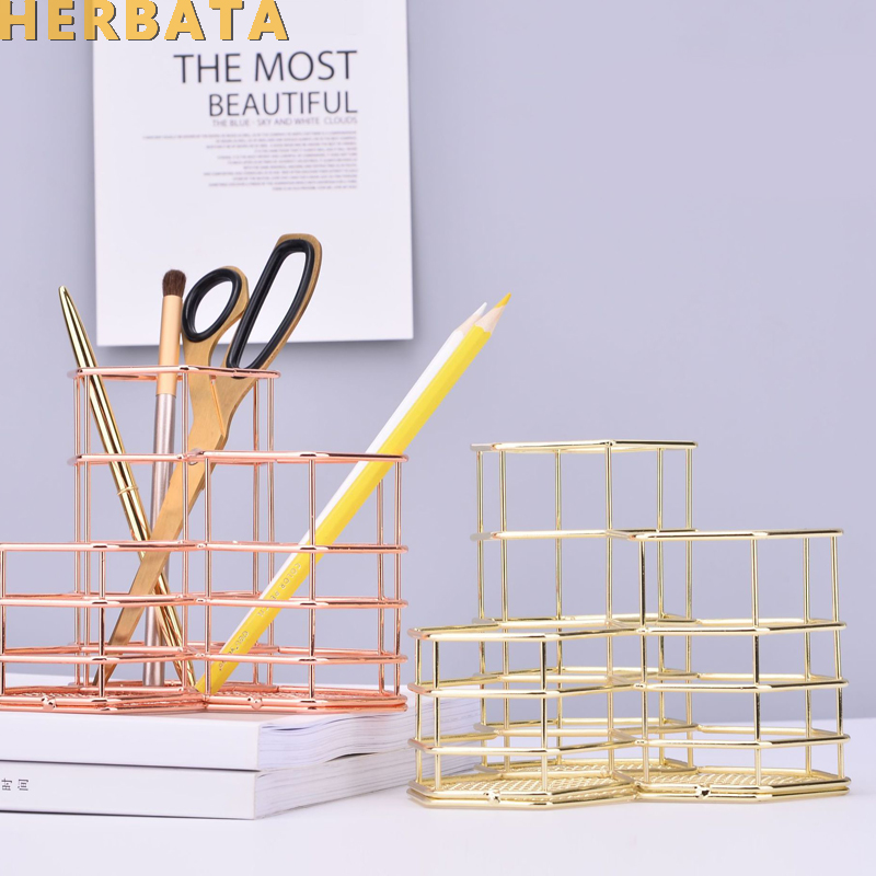 Metal Pen Pencil Holder Multifunctional Desktop Storage Container Creative Desk Organizer Combination Office Accessories CL-2546