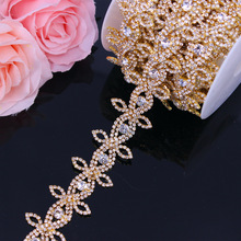 Gold Rhinestone Trimming Belt for women Crystal Rhinestone Chain Bridal Sash Rhinestone Trim Iron On Applique For Dresses