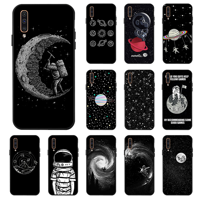 Case For Samsung A50 A70 A40 A30 A20 A10 M30 M20 M10 Case Space Moon Soft Black Painted Phone Cover For Samsung Galaxy A60 A20e