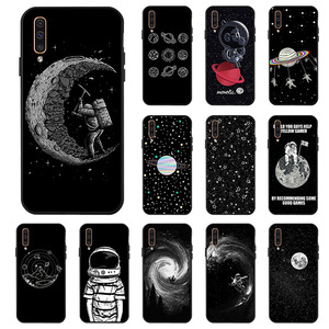 Case For Samsung A50 A70 A40 A30 A20 A10 M30 M20 M10 Case Space Moon Soft Black Painted Phone Cover For Samsung Galaxy A60 A20e(China)