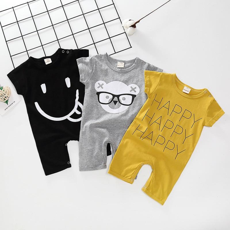 2019 Animal Cartoon Baby Girl Romper Summer Cotton Short Sleeved Newborn/toddler For Boys Clothes Y