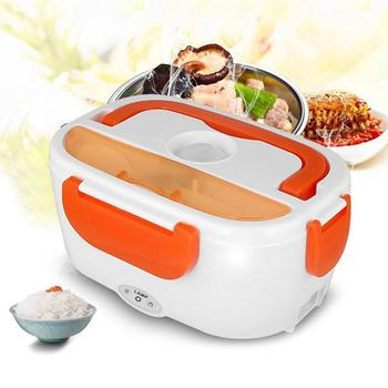 US/EU Plug Portable Electric Heating Stainless Steel Lunch Box Home Car Dual Use Rice Box Food Warmer Dinnerware Set image