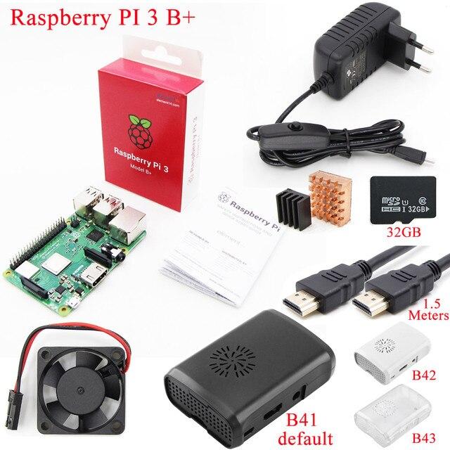 Raspberry Pi 3 modèle B +, kit de démarrage avec boîtier, ventilateur de refroidissement, carte SD de 16 ou 32 go, dissipateur thermique, adaptateur dalimentation, câble HDMI