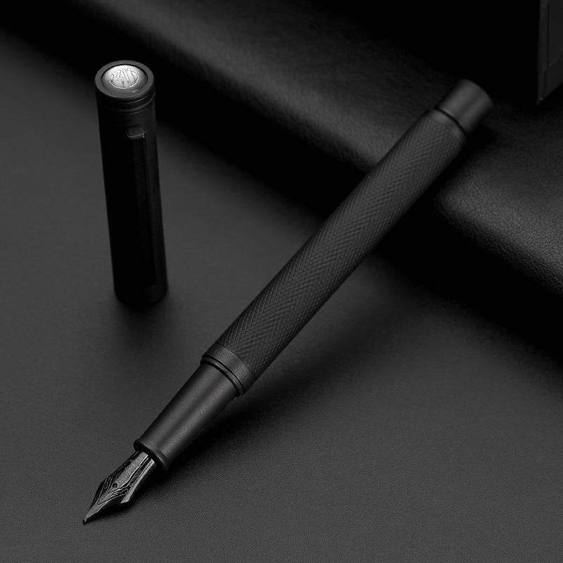 Hongdian caneta de fonte de metal preta, material de titânio, preto ef/f/dobrado, bela textura de árvore, excelente presente para escrita escritório de negócios