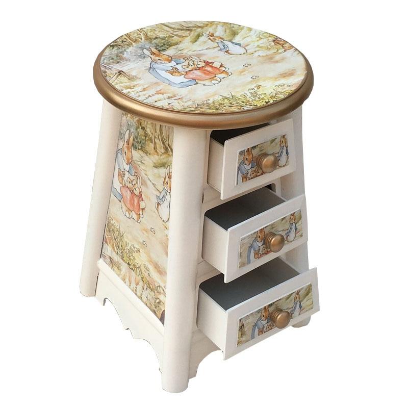 Европейская пасторальная Корейская мебель из твердой древесины стул для хранения три откачивающихся стула