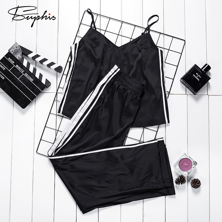 Suphis Sexy Pijama Stripe Black Satin Sleeveless Cami Top Ladies Summer Women Pajamas Set With Pants Trousers Casual Sleepwear