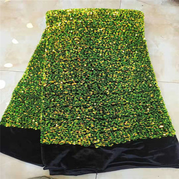 green HOT French Nigerian sequins net lace,African tulle mesh lace fabric high quality for party wedding dress 5yards/lot