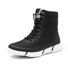 Black Men Sneakers High Top Winter Running Shoes For Men Warm Boots Sport Shoes Woman Brand Large Size43 44 Outdoor Walking Shoe(China)