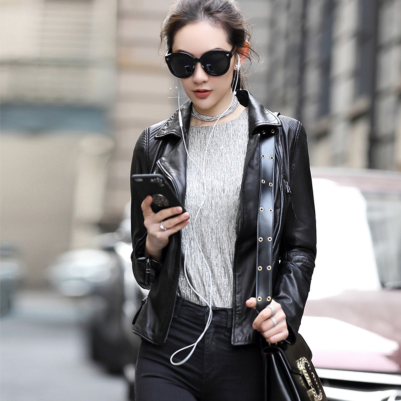 Genuine Leather Jackets For Women Sheepskin Leather Short Slim Motorcycle Jackets Spring Autumn Coat OT1721 MF158