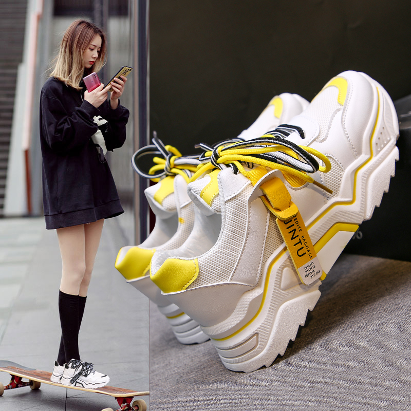 2020 Women's Chunky Sneakers Fashion Women Platform Shoes Lace Up Vulcanize Shoes Womens Female Trainers Dad Shoes 89