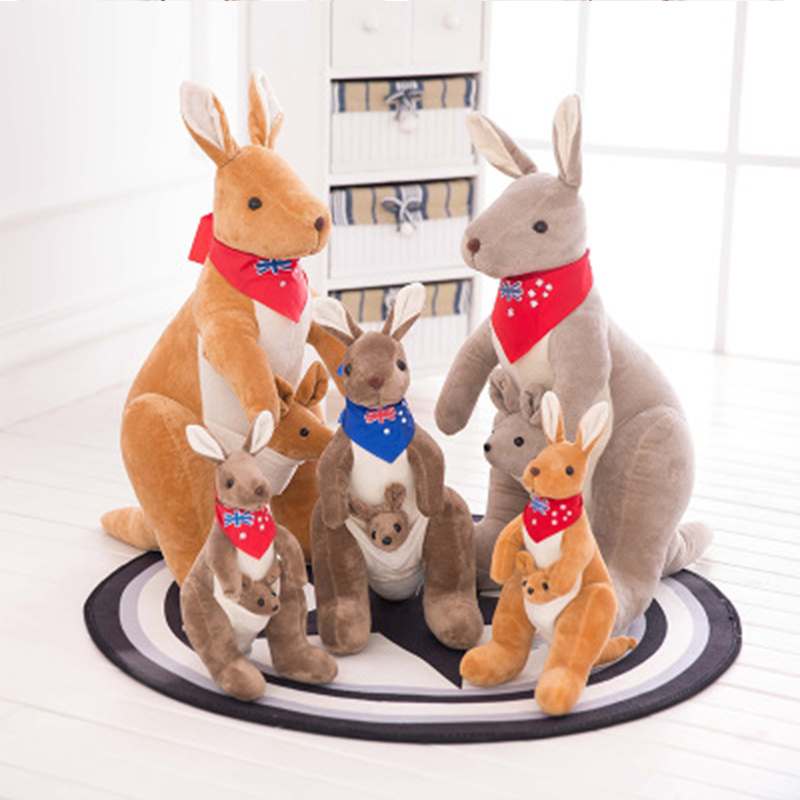 Plush Kangaroo 35cm Stuffed Animal Australian Mother And Child Kangaroo Stuffed Doll For Boy Girl Birthday Gift Toys Flag Scarf