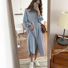 Vintage herfst Lange Jurk lange mouwen turn down kraag vrouw Lady losse overhemd Casual Mode maxi katoen blauw wit