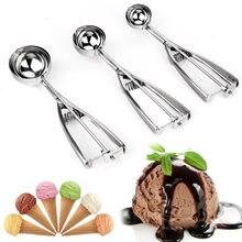 Sorvete colher 4,5,6cm de aço inoxidável com gatilho colher colher de biscoito congelado cozinhar ferramentas sorvete ferramenta de decoração