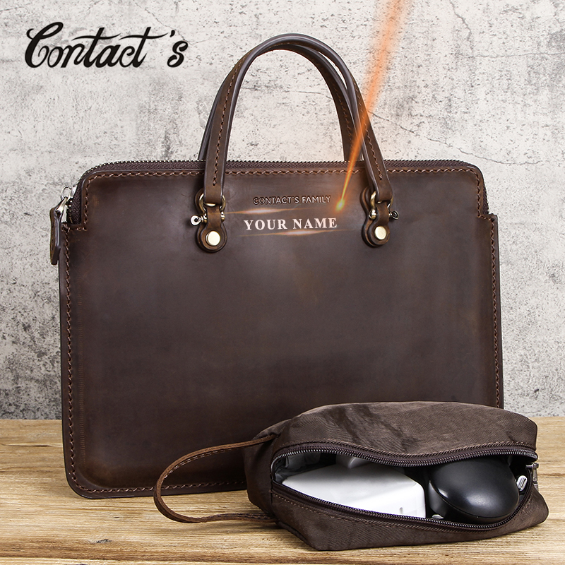 Contact's Free Engraving Men Briefcase Crazy Horse Leather Laptop Bag 15
