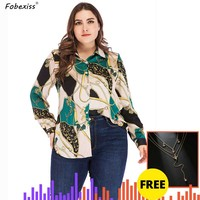 Chain Printing Green Blouses Women Plus Size 4XL 5XL Long Sleeve Buttoned Up Shirts Lady Streetwear Loose Casual Women Clothing