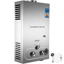 Calentador de agua sin tanque de 6L, Gas propano LPG a petición, Control Digital