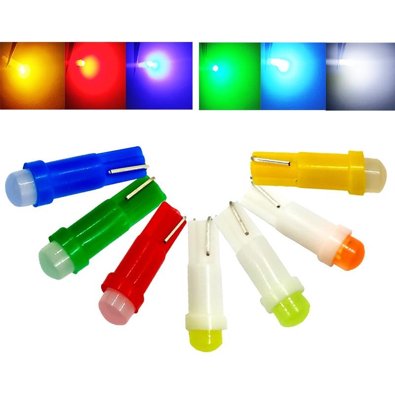 10 шт. T5 светодиодный светильник с W1.2W W3W светодиодный интерьер автомобиля светильник Авто клиновидные боковые панели датчик прибора лампы ...