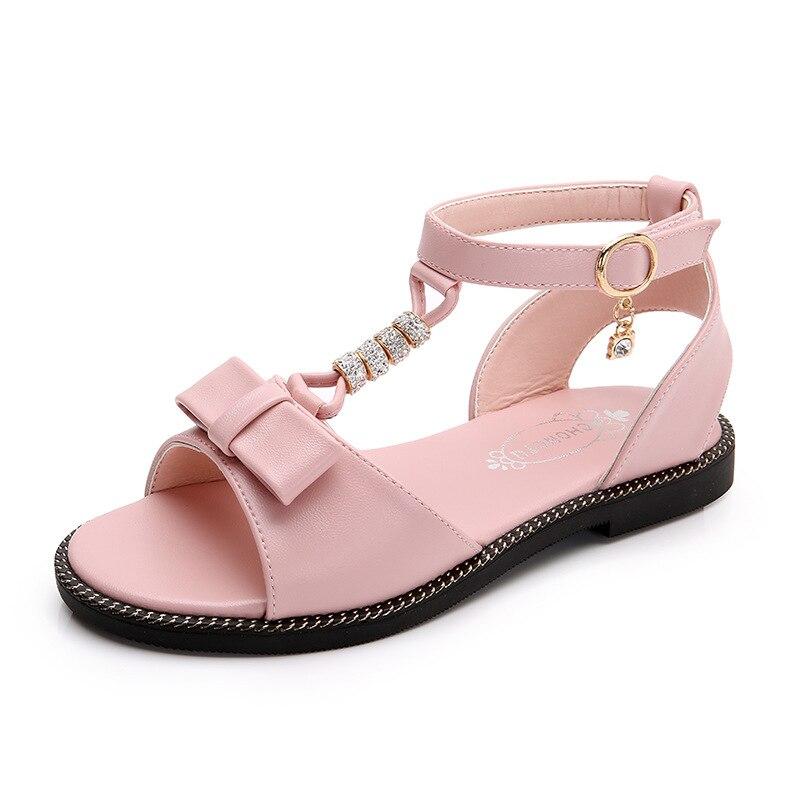 Summer Fashion Leather Bowtie Rhinestone Girls Childrens Soft Bottom Big Kids Princess Sandals Student Beach Shoes 4 - 13 Years