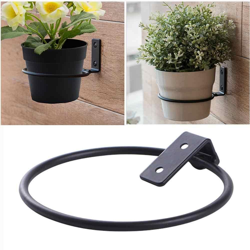 3x Folding Flower Pots Holder Wall Mounted Ring Planter Pot Hanger Bracket Tray
