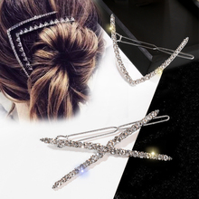 Fashion Shiny Crystal Rhinestones Hair Clips for Women Accessories Geometric Triangle X shape Hairpins
