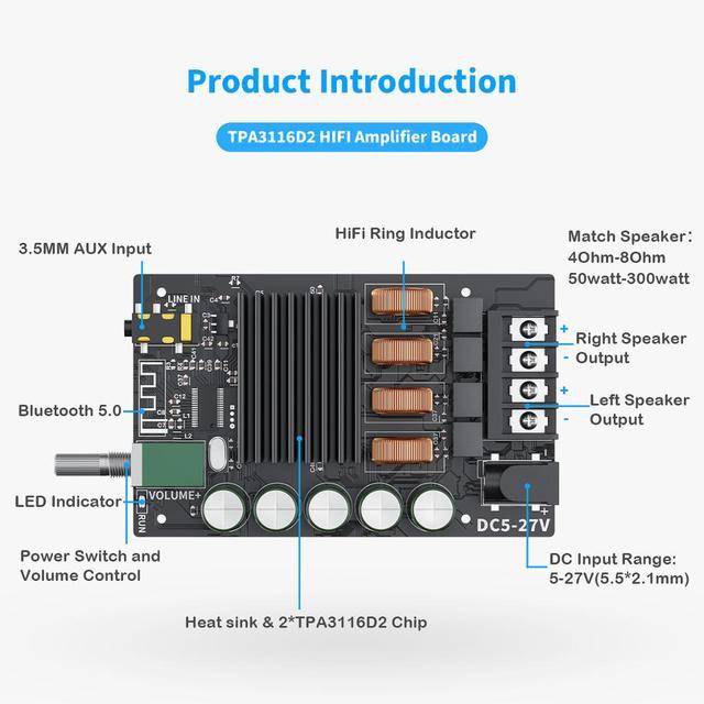 Плата усилителя мощности Fosi Audio Bluetooth 5.0 TPA3116D2, 2.0, 100 Вт