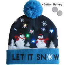 Рождественская шляпа освещение вязаная шляпа теплая осень зима Рождественские подарки для вечеринок декоративная хорошая эластичность для взрослых среднего возраста детей