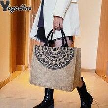 2021 płócienne torebki dla kobiet moda Tote torby plażowe torby na zakupy wielokrotnego użytku Casual duża pojemność projektant torba na ramię torby