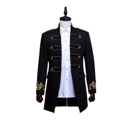 Male star Deng Chao same mens slim casual suit coat with epaulettes palace prince tuxedo coat party, stage costumes